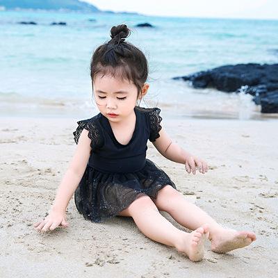 儿童泳衣女童可爱宝宝连体蕾丝裙式游泳衣防晒速干公主小童泳装
