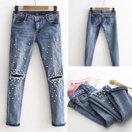 New Ripped Skinny Jeans women pecil pants Long trousers Girl