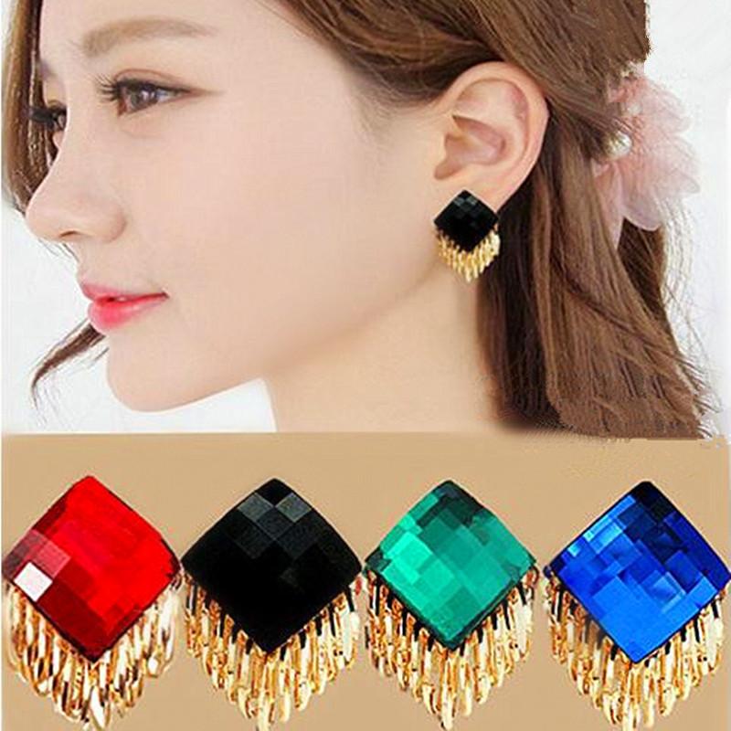 925 silver needle crystal tassel workplace fashion temperament versatile bridal red big earrings earrings female European and American style South Korea