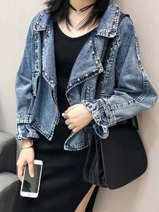 牛仔短外套女2019秋季新款韩版重工铆钉宽松百搭西装领夹克上衣潮