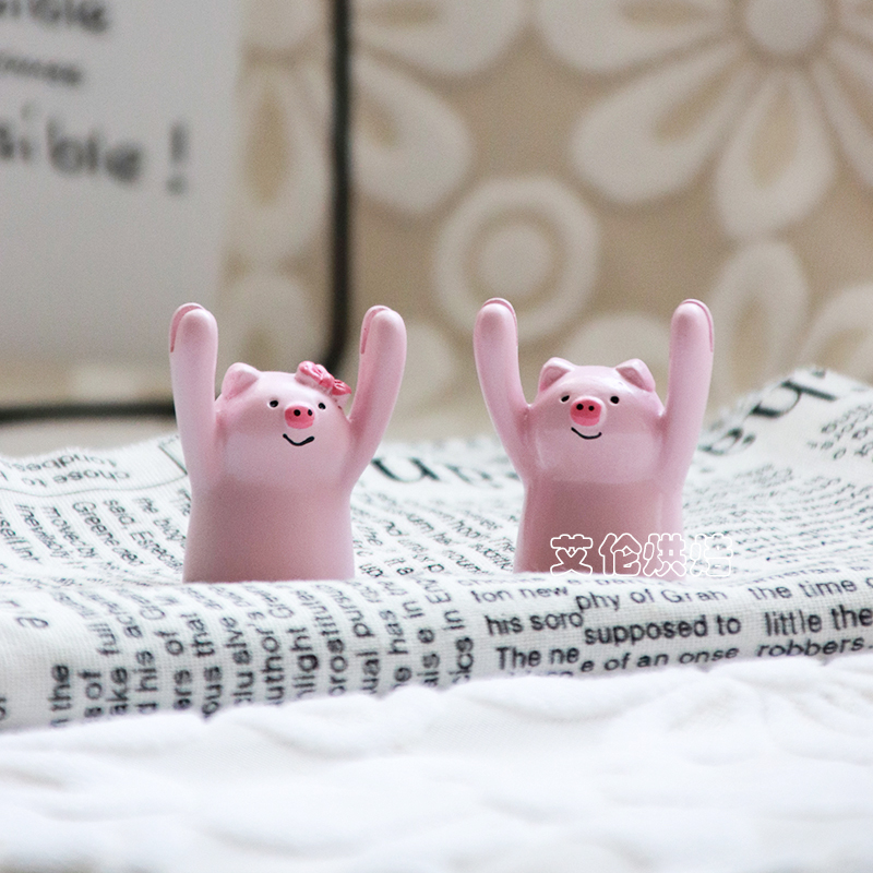 Pink pig birthday cake decoration little lion sign can write sign baking accessories doll