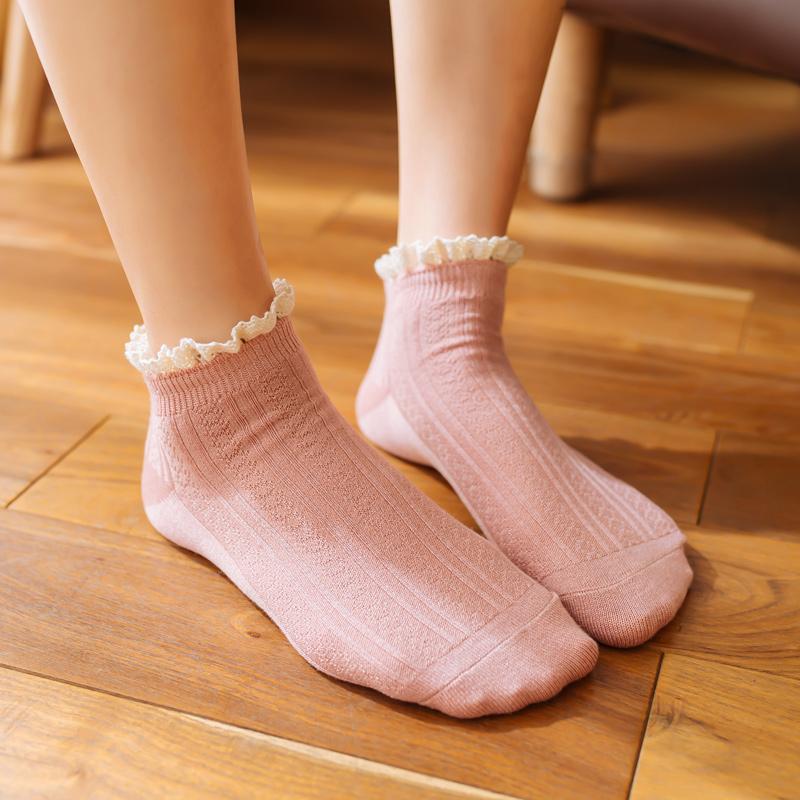 日系春秋非纯棉蕾丝花边袜浅口短袜韩国可爱女士袜子薄款潮中筒袜