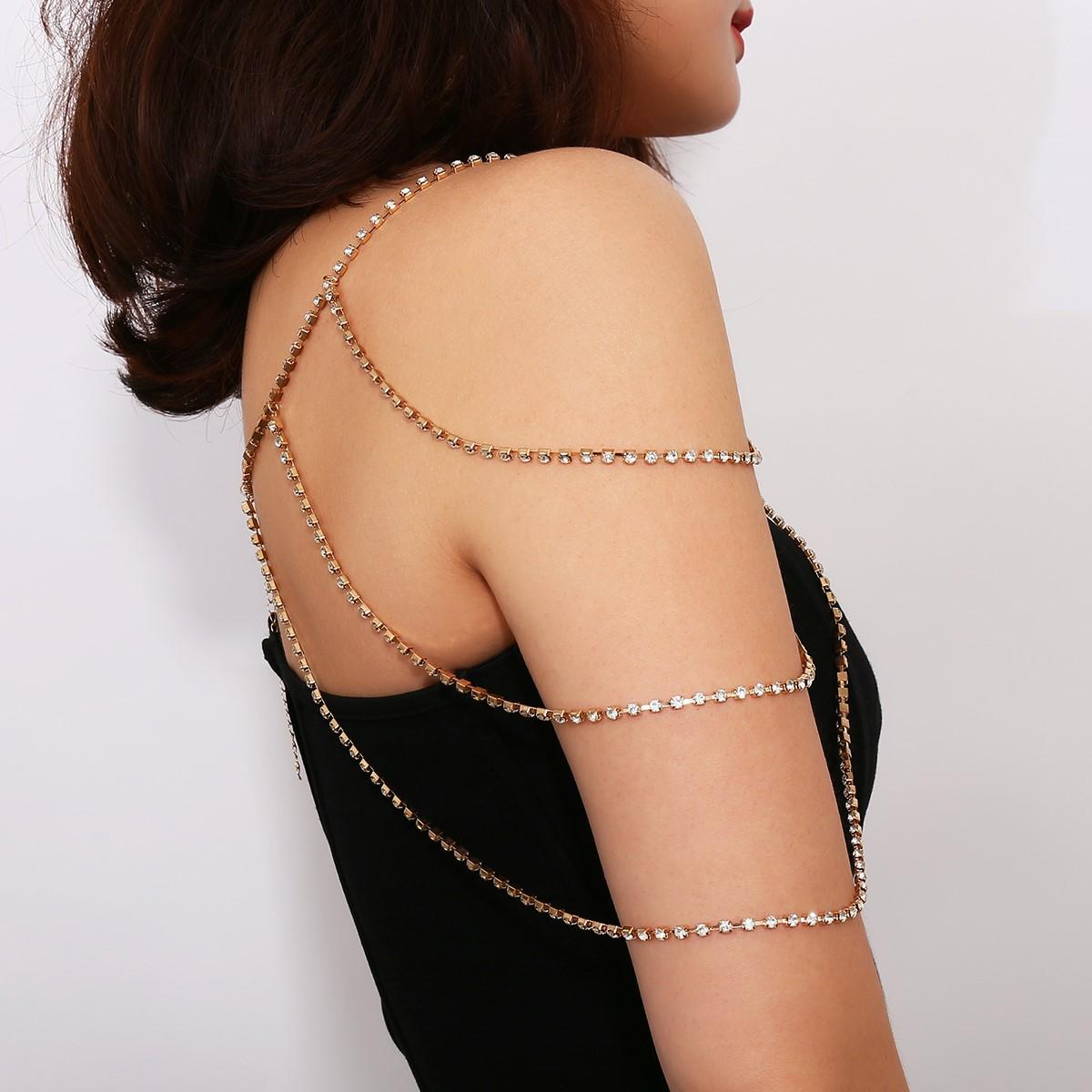 新款镶钻流苏肩链肩链女 欧美时尚水钻多层爪链连衣裙链子配饰品