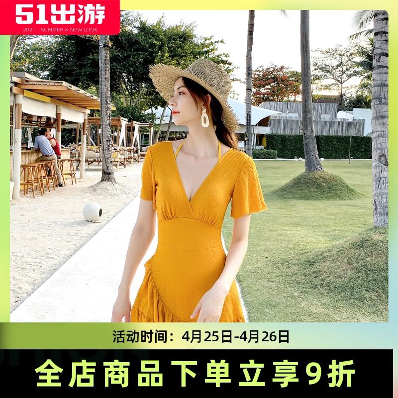 连体裙式女平角仙女范保守可爱泳衣