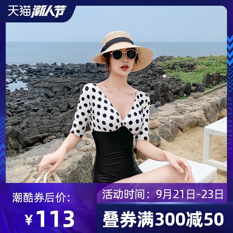 复古连体温泉泳衣女显瘦遮肚韩国ins风2020新款性感保守连体les