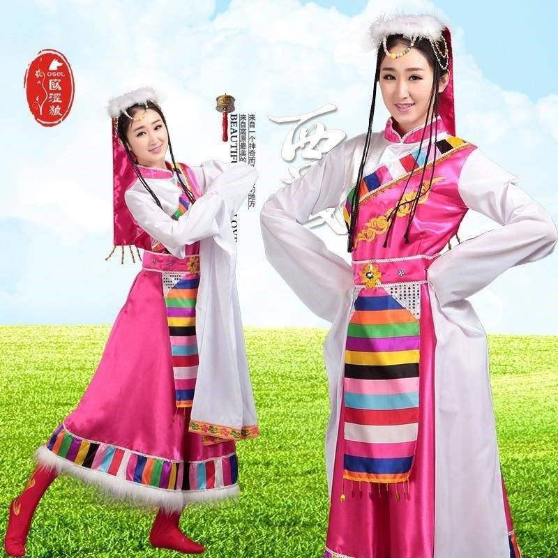 新款藏族舞蹈演出服装女水袖西藏长裙藏袍成人少数民族舞台表演服