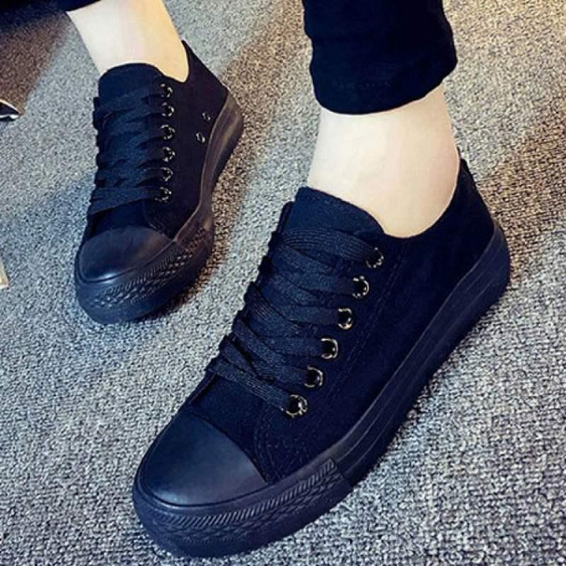 低帮全黑帆布鞋 女韩版潮 纯黑色学生球鞋工作板鞋运动单鞋训练鞋