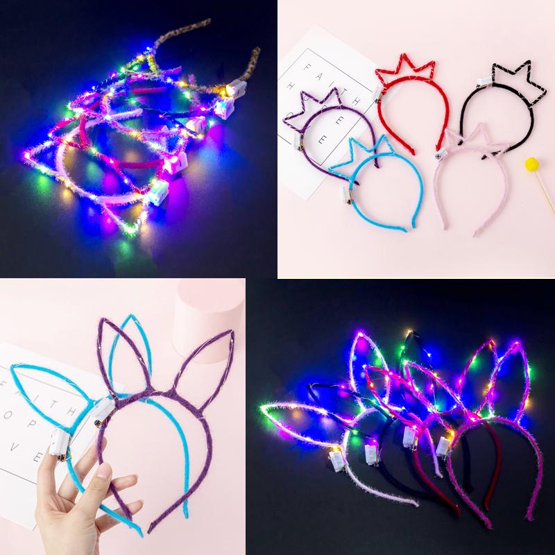 创意发光头饰兔耳朵夜光头箍发箍