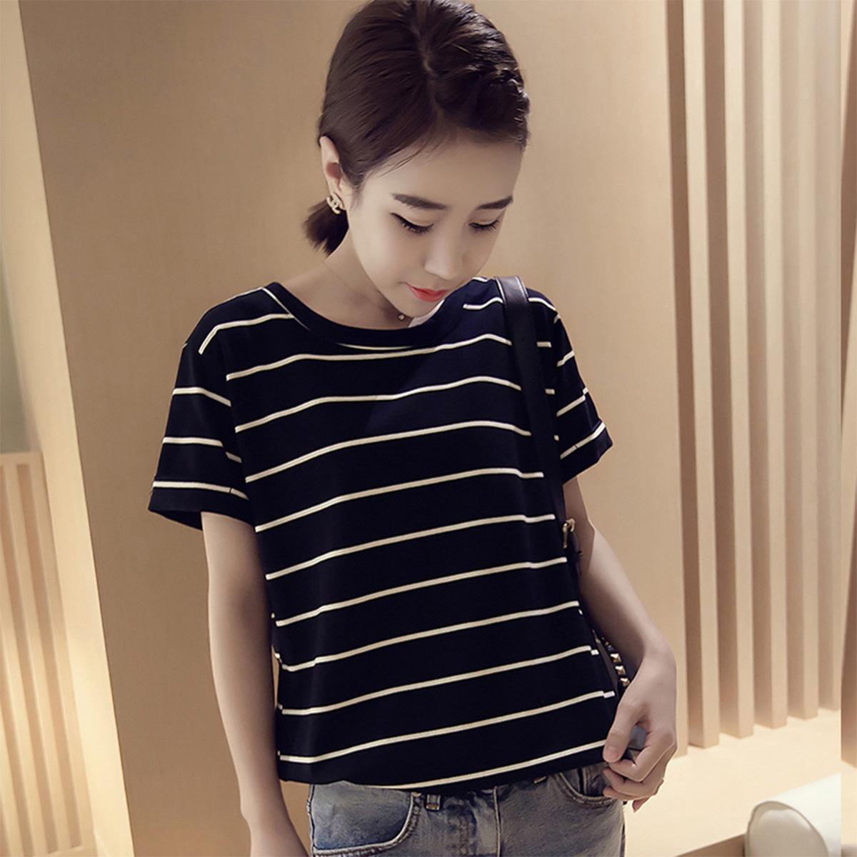 2018夏季新款韩版宽松条纹短袖T恤女上衣打底衫女士22