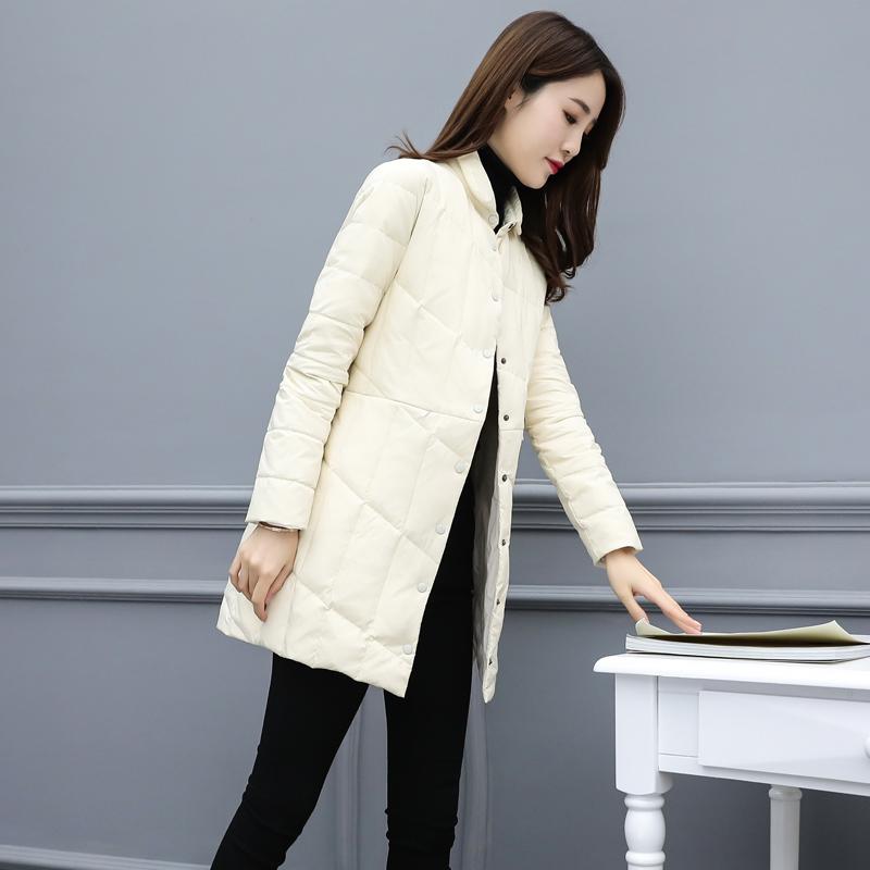 羽绒服女中长款2020冬季新款立领洋气轻薄韩版时尚小个子外套潮