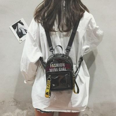 透明包包女雙肩包全透百搭可愛個性學生書包糖果色韓版果凍小背包