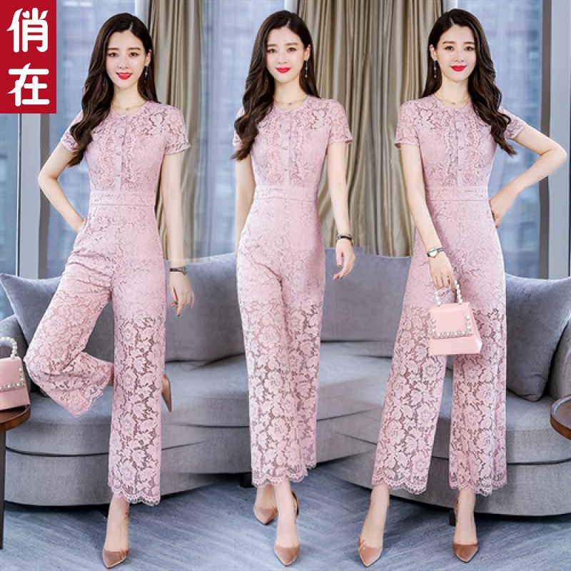 Womens spring and summer new lace temperament wide leg pants Korean version small fragrance short sleeve high waist Jumpsuit fashion