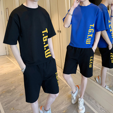 Short sleeve T-shirt suit Men Summer Trend 2019 Junior high school students casual clothes T-shirt shorts two sets