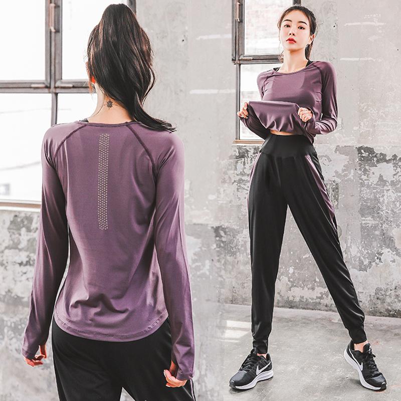 瑜伽服运动套装女秋冬款健身房跑步速干衣网红健身服宽松显瘦弹力