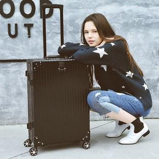 学生行李箱密码登机男女24旅行箱万向轮26安怡复古直角铝框拉杆箱