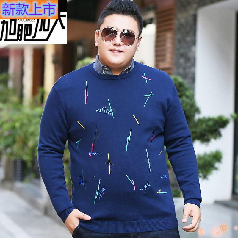 High grade authentic fashion fat mens Plus Size embroidered sweater fat man oversize loose T-shirt