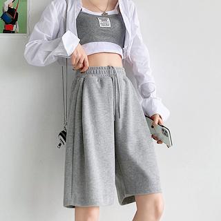 灰色运动短裤女宽松夏季2021新款学生显瘦直筒中裤休闲阔腿五分裤
