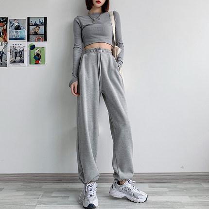灰色运动裤女宽松束脚春秋季2021新款显瘦百搭阔腿直筒休闲卫裤子
