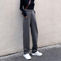 垂感西装裤秋冬高腰加绒加长裤子