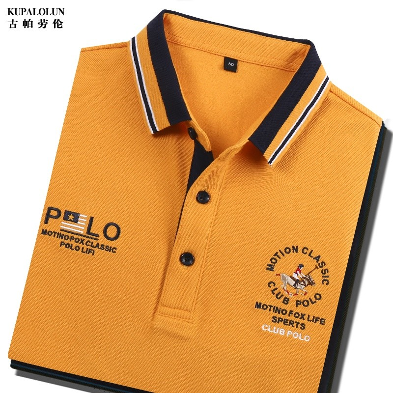 High grade genuine brand mens solid color long sleeve t-shirt mens Lapel cotton embroidery casual Polo Paul shirt casual spring