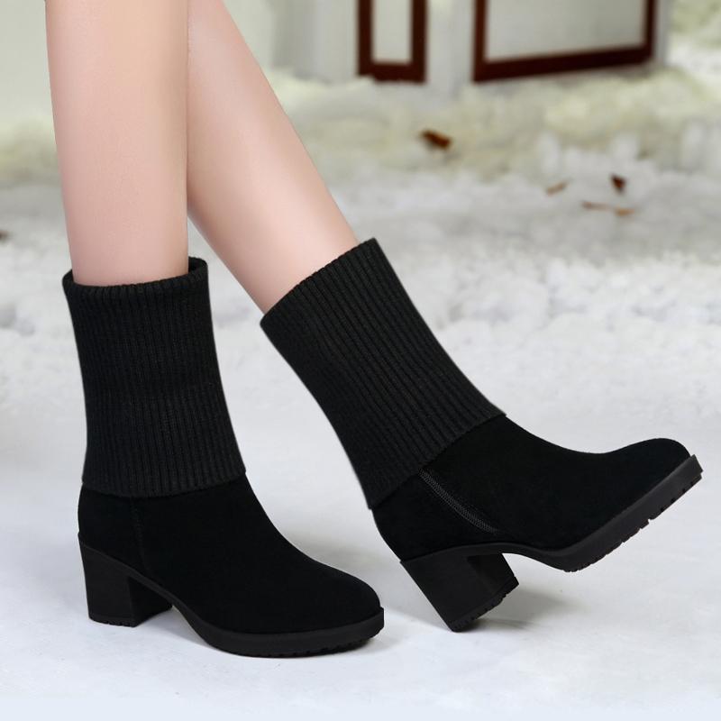 Специальное предложение осенью и зимой англия толстая ботинки в среде ботинки женщина скраб шерстяной на высоком кабгалстук-бабочкае трубка ботинок круглый снег сапоги