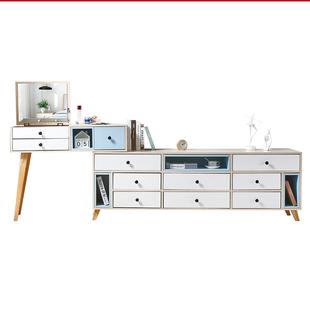 翻蓋大書桌化妝台 電視櫃梳妝枱收納櫃一體卧室網紅ins風現代簡約