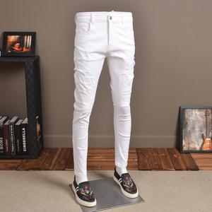 夏季白色牛仔裤男破洞弹力修身小脚韩版潮流刮烂休闲小脚裤白