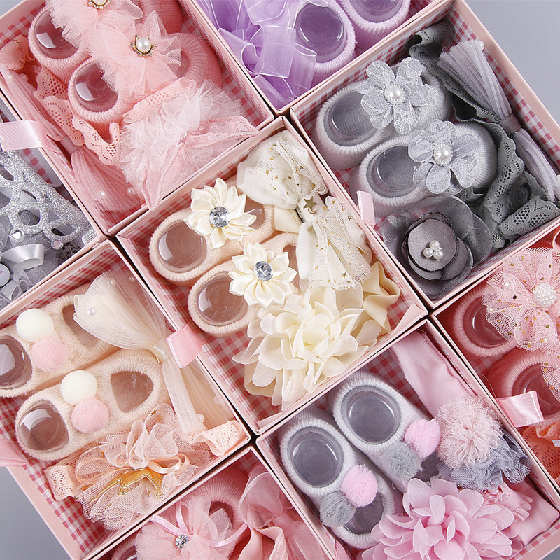 Net yarn irregular bow knot childrens hair with socks Set Baby Set Gift