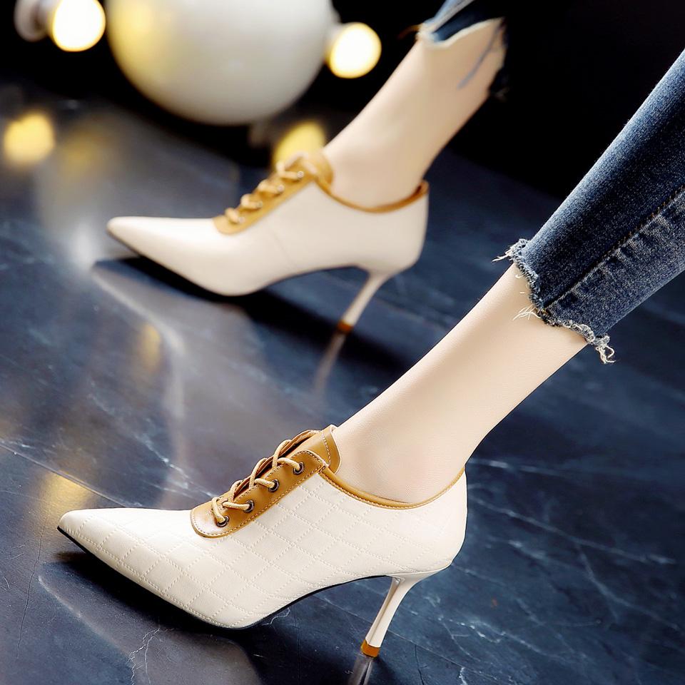 韩版21春季新款米色通勤OL办公高跟鞋拼色系带深口尖头细跟单鞋女