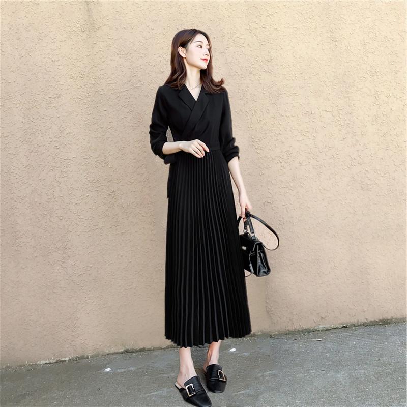 2019秋装新款赫本风长袖山本连衣裙满60元可用2元优惠券