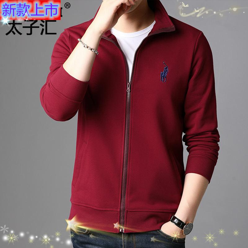 Top grade sweater coat mens cardigan zipper cotton half high collar pony sweater spring and autumn leisure trend