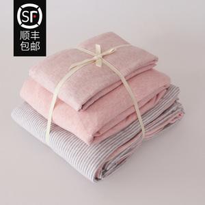 天竺棉裸睡全棉四件套 简约条纹针织棉被套床笠纯棉床单床上用品