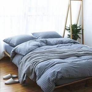 水洗棉四件套简约纯棉纯色格子条纹床品 全棉天竺棉被套床单床笠