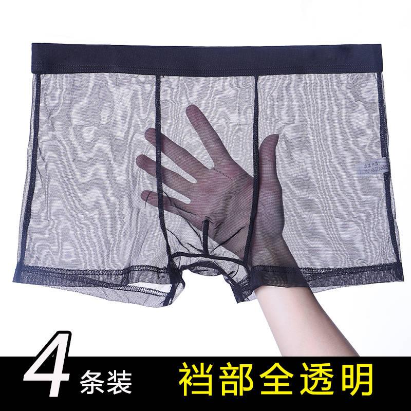 Mens transparent underwear full transparent mesh sexy bottom thin summer breathable ice silk mesh boxer pants