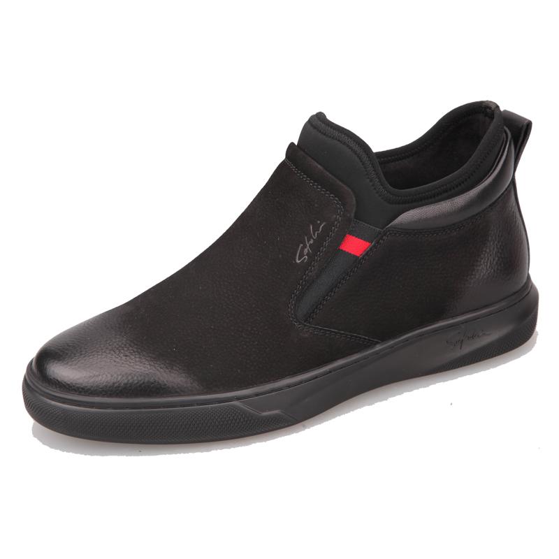 沙驰男鞋冬季加绒保暖磨砂皮高帮英伦二棉鞋户外休闲中帮真皮皮鞋图片
