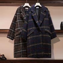 大码女装2021冬季常规 加棉呢子大衣中长款显瘦茧型格子毛呢外套