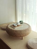 草编飘窗桌榻榻米小茶几日式简约炕桌地桌矮桌实木窗台桌电脑圆桌