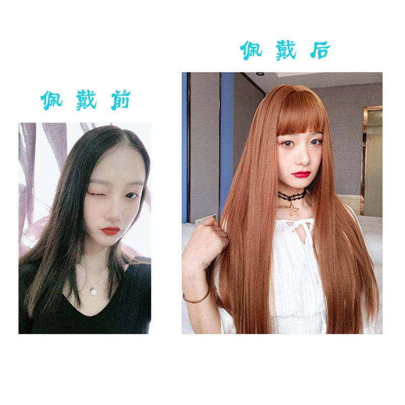 Princesss cut-off headgear Lolita natural hair set jellyfish giraffe straight hair Full Wig female long hair