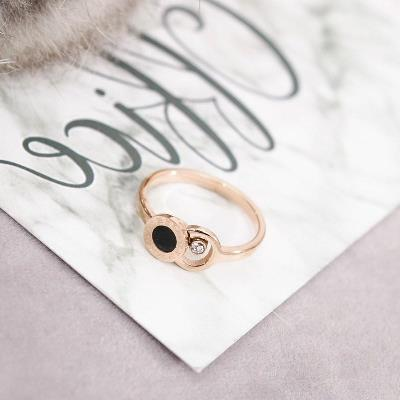 戒指百搭气质范时尚食指环钛钢精致女款玫瑰金戒子流行首饰品