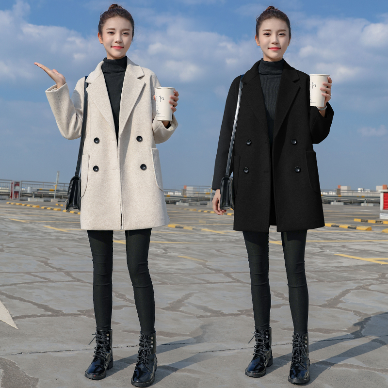 毛呢外套女中长款小个子2020秋冬季新款妮子韩版加厚流行呢子大衣