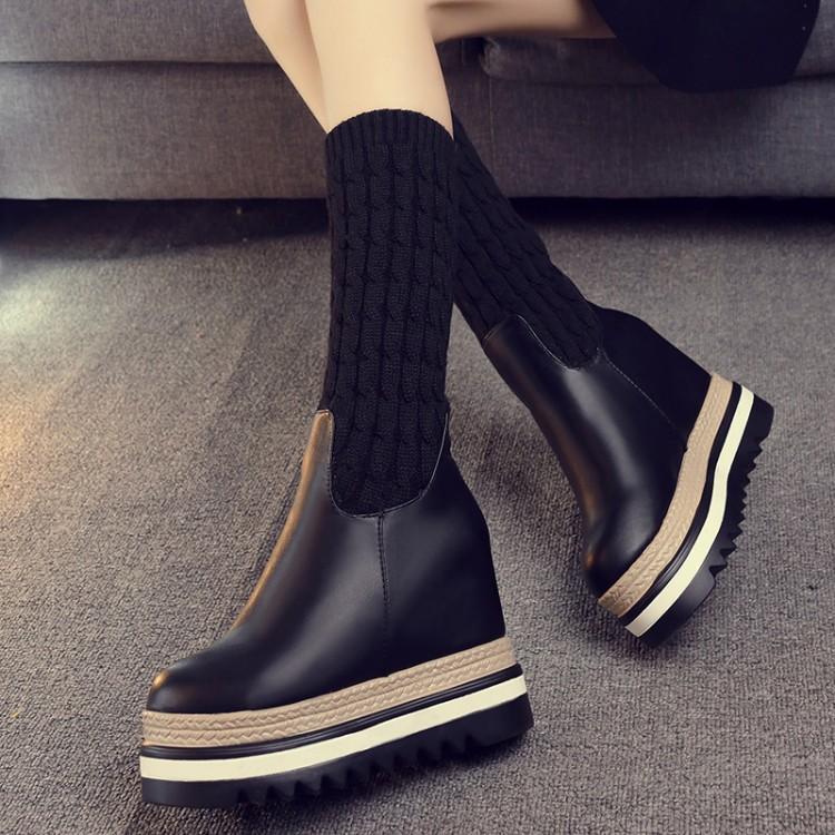 坡跟中筒毛线拼接弹力靴女欧洲站2017新款秋冬季厚底松榚袜子鞋潮