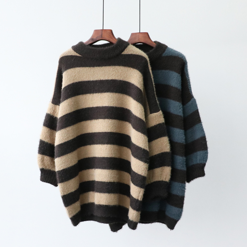Winter new style mink imitation mink fur wide stripe sweater for womens middle and long style Korean version loose thickened bottomed sweater fashion