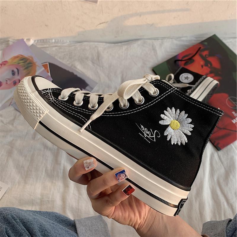 GD同款小雏菊鞋子1970s韩版ulzzang百搭高帮板鞋新款黑色帆布鞋女