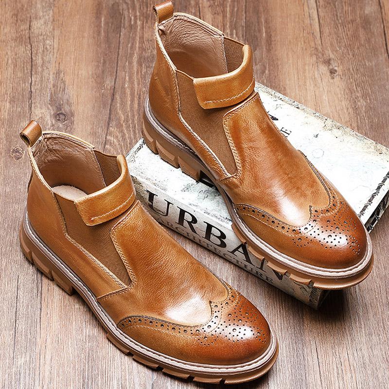 真皮切尔西短靴男皮靴子英伦牛皮布洛克高帮皮鞋加绒保暖马丁靴男 thumbnail