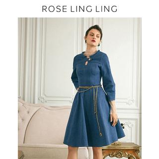 RoseLingLing отскок хорошо супер близко спокойный сила из ковбой материал платье женщина трехмерный рукав талия юбка, цена 6619 руб
