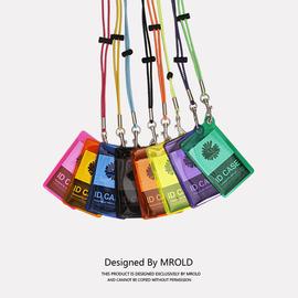 潮牌卡套ins风证件套荧光色透明软胶PVC胸牌厂牌套挂饰胸卡挂脖绳