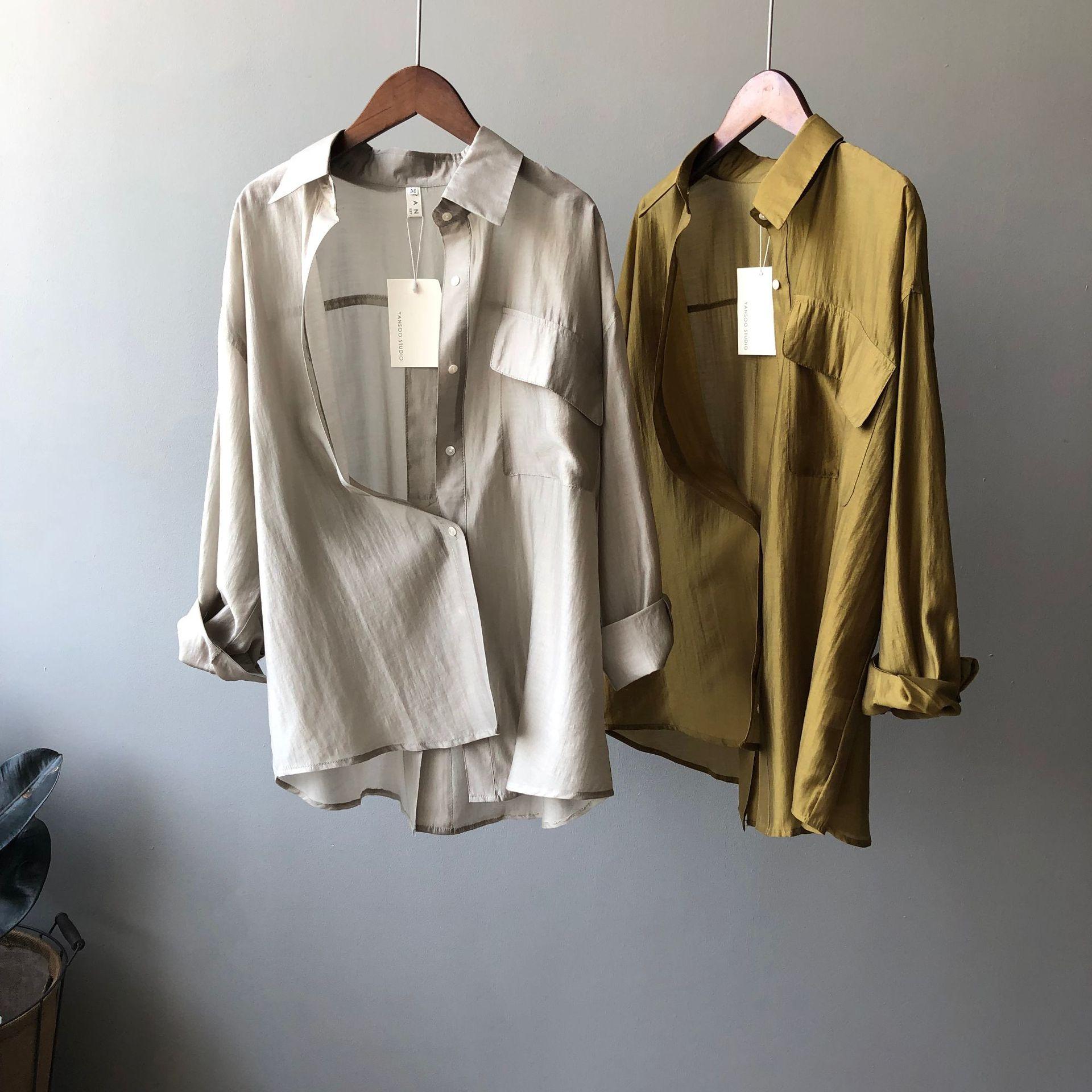 Duoyan Tencel shirt womens 2021 summer new Korean loose light pure color temperament long sleeve sunscreen clothes