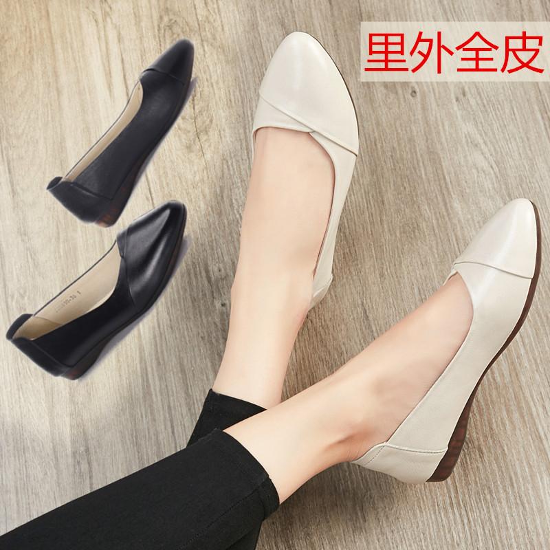 单鞋女2019夏款真皮平跟妈妈鞋40-50岁软底皮鞋平底舒适中年女鞋