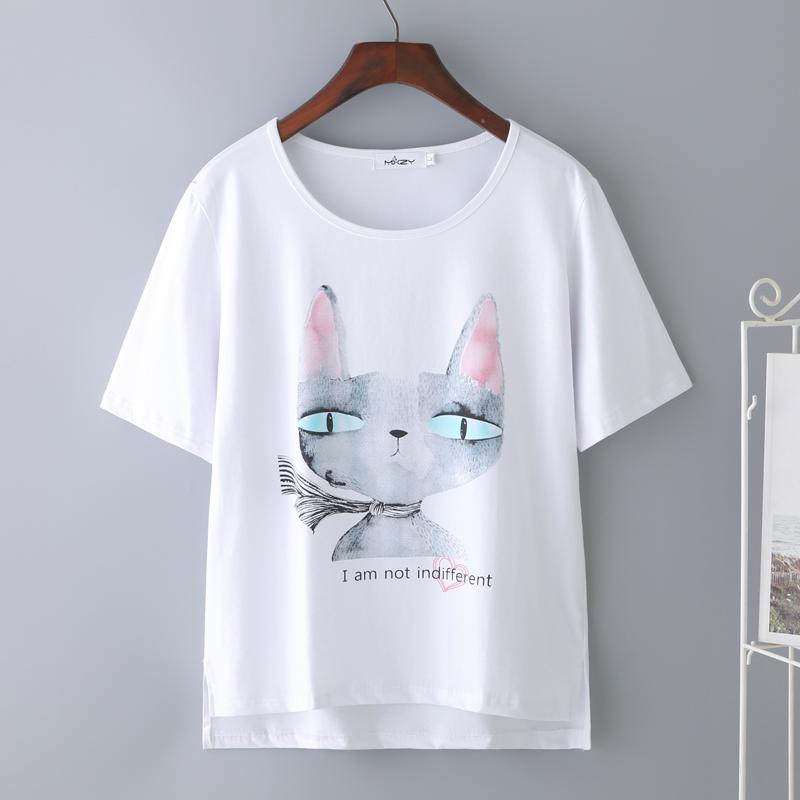 2019新款白色纯棉短袖t恤女个性印花宽松显瘦上衣韩版潮半袖体恤