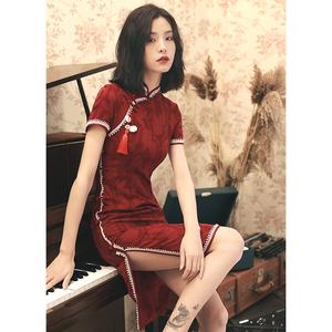蚀骨红色旗袍改良版连衣裙短款修身性感少女年轻款复古中国风